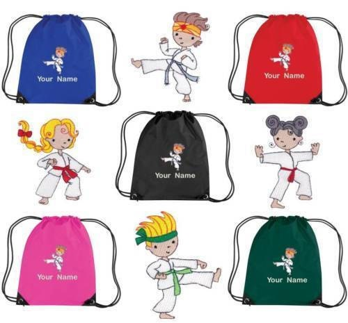 Personalised Embroidered Drawstring GymShoe Bag with Karate  GI KAR  kids pe school  personalize item