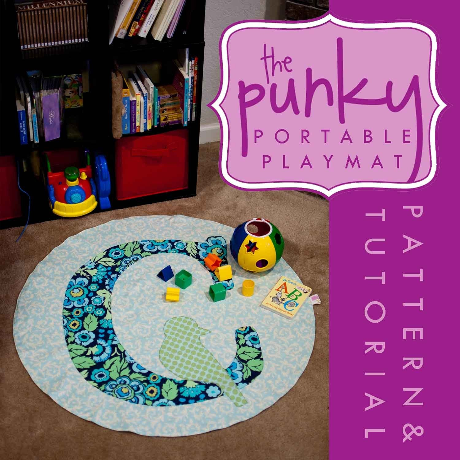 Bird on a Letter- Pattern and Tutorial PDF Punky Portable Play Mat, Stroller Blanket, Rug, Throw, Sewing, Easy, Activity, Toy, Colorful, High Contrast, DIY, Custom, Personalized, Monogram