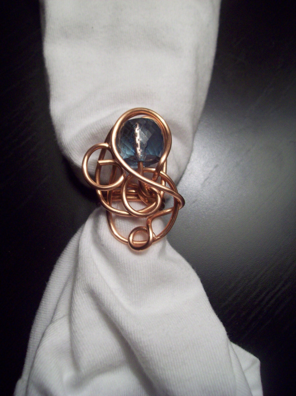 SALE Copper Swirl Ring w/blue accent bead