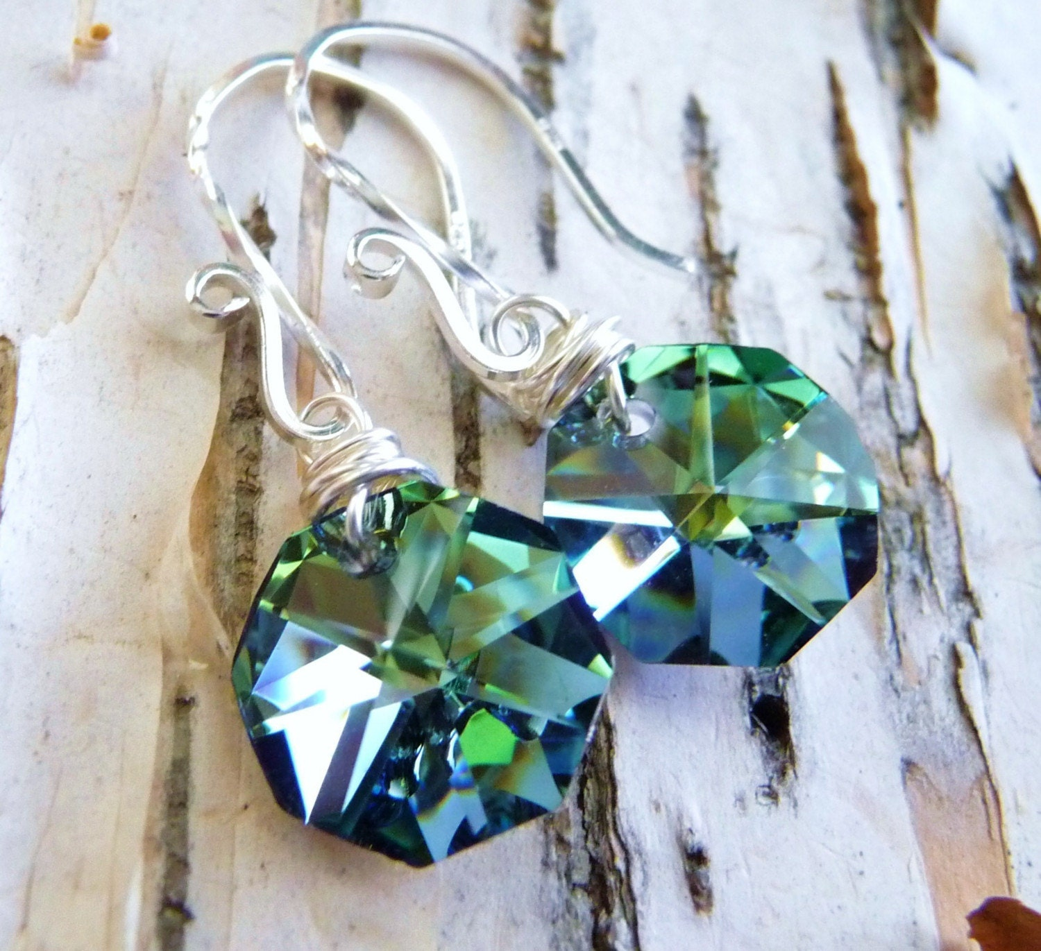 Handmade Vitrail Sea Green and Blue Crystal  Octagon Briolette Drop Sterling Silver Earrings