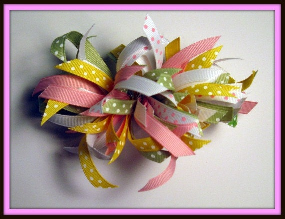 Scrap hair bow barrette - pastel