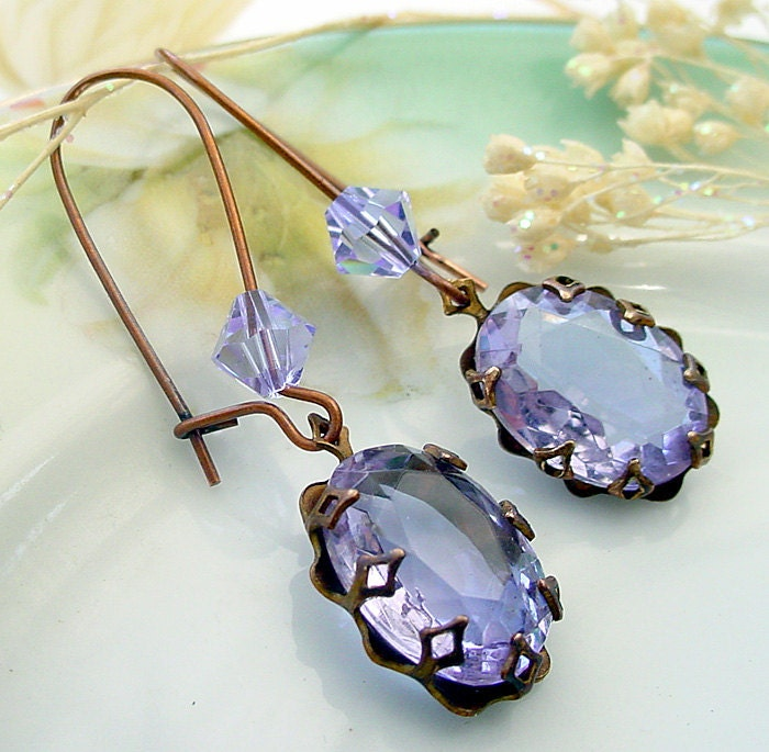 Brass Alexandrite Glass Earrings by Katofmanycolors on Etsy