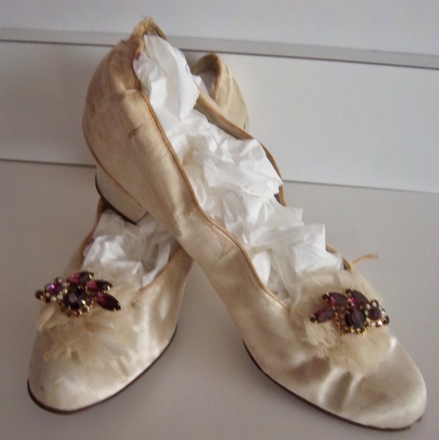 Items Similar To Edwardian Victorian Antique White Silk Wedding Shoes Slipper