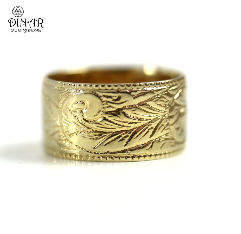 hammered wedding band 14k gold wide by