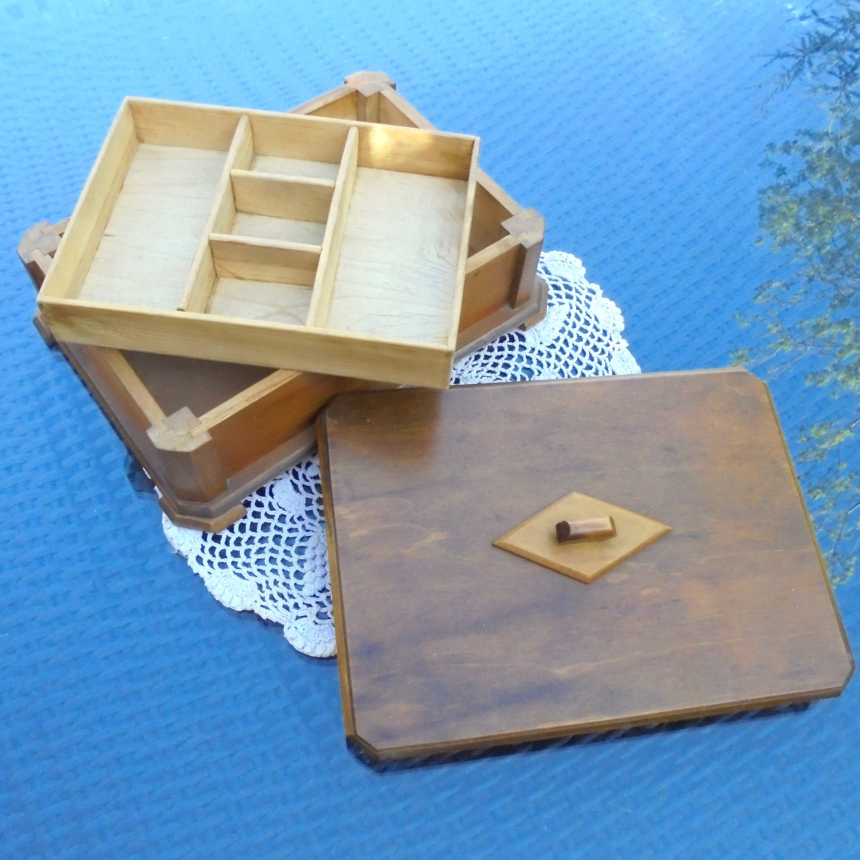 Art Deco Wooden Box with Lift Out Sectioned Tray for All Sorts of Cufflinks Tie Pins Trinkets Nic Nacs Jewellery Treasures Natural Wood