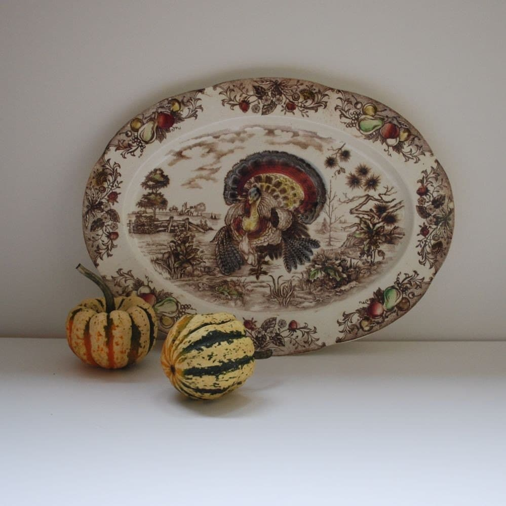 VINTAGE TURKEY THANSGIVING PLATTER