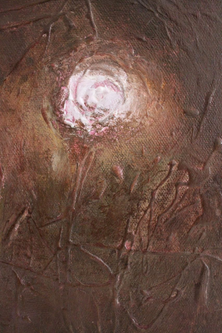 Original Abstract textured painting  Glowing Roses