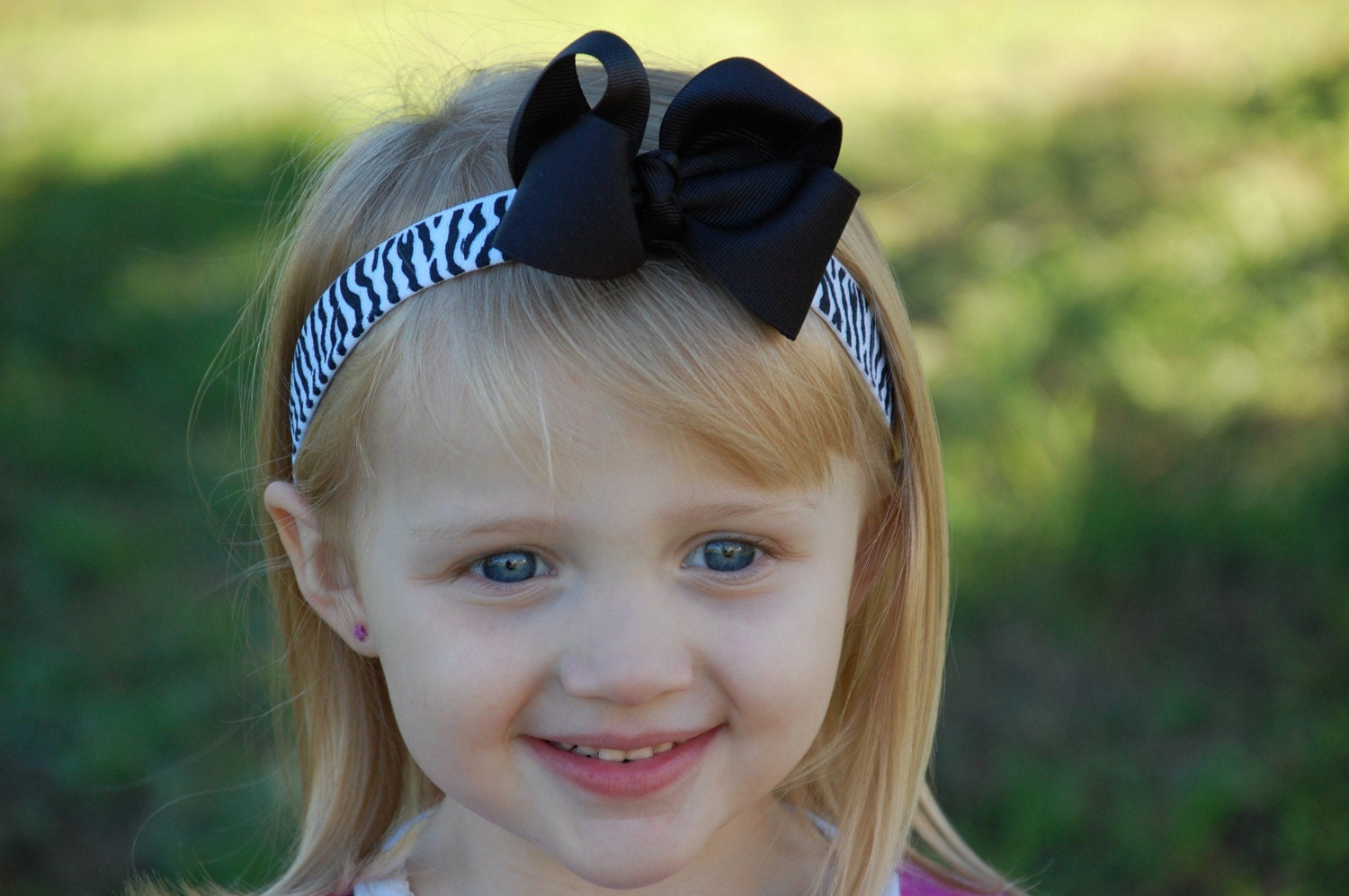 Black bow with zebra headband