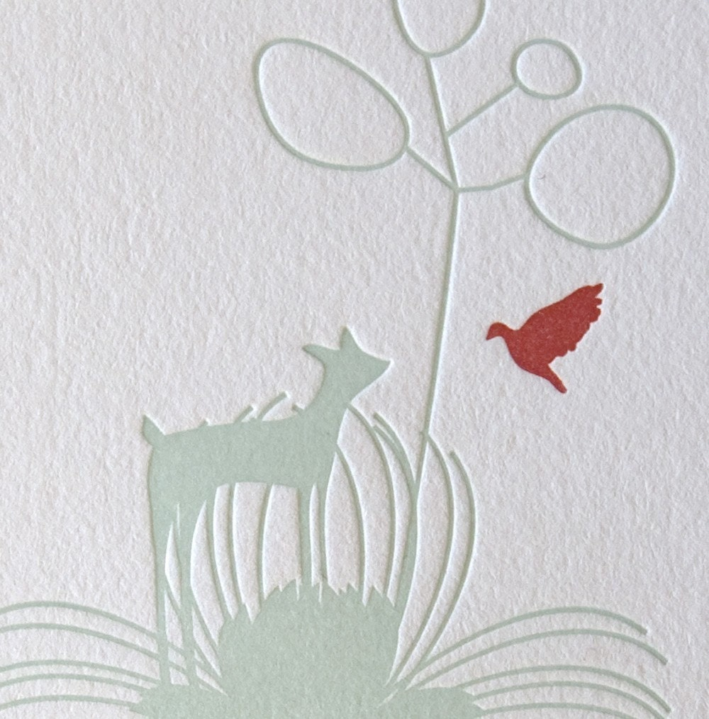 Letterpress Print, deer with flowers and bird