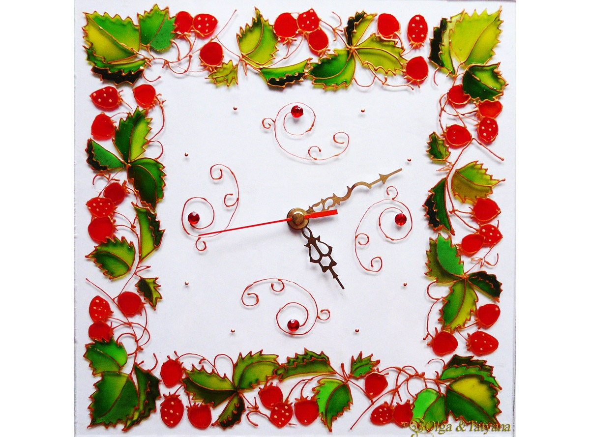 The Red strawberry green leaves square Wall Clock Glass Painting - bead half - gift 9.8 inch - HandMadeBeautyWorld
