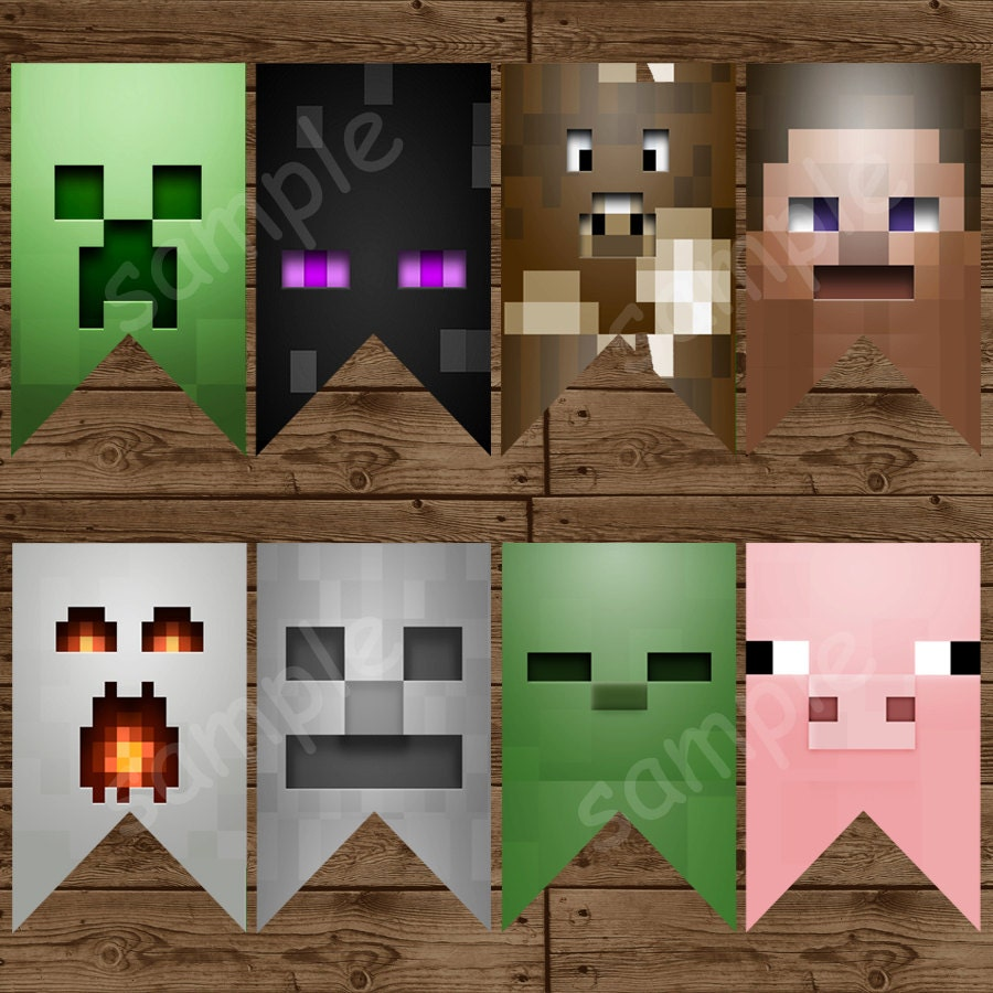 This is a photo of Agile Minecraft Birthday Banner Free Printable