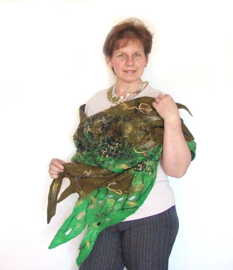 Unique Nuno Felted scarf   Green Forest by galafilc on Etsy