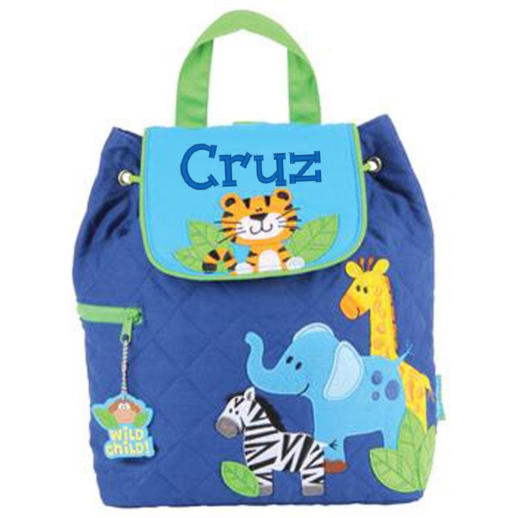 Personalised Stephen Joseph Quilted Backpack Children Toddler BackpackRucksackNursery BagNappy BagZoo  FREE Keyring