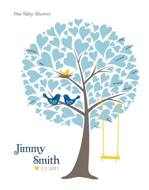 baby shower tree guest book poster nursery wall by tjloveprints