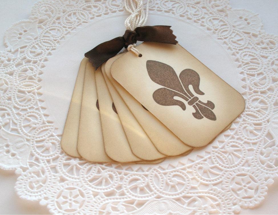 Vintage Inspired Fleur De Lis Handstamped Gift Tags