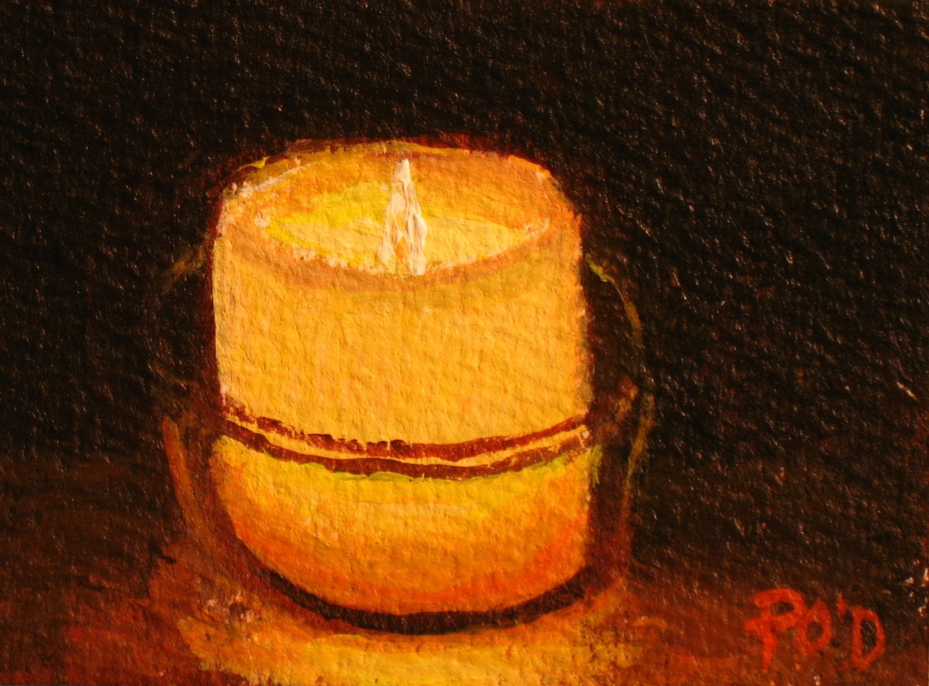 Aceo sfa original acrylic painting candle in a by for Can you paint candles with acrylic paint