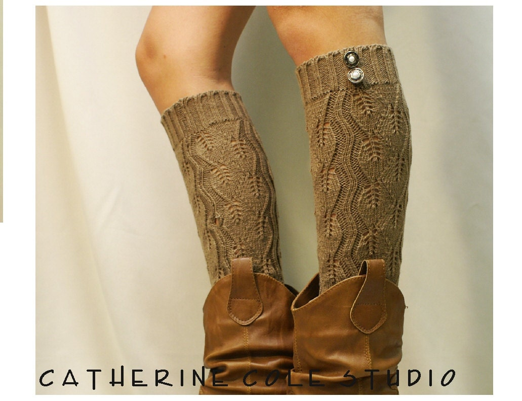 Leg Warmers Open Crochet Knit Tan / Womens By LaceBootSocksbyCCole
