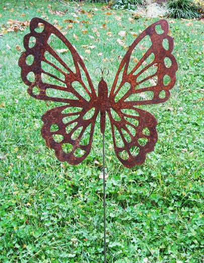 Butterfly garden stake garden decor by rusticaornamentals for Decorative lawn ornaments