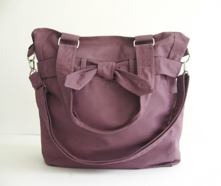 Plum Canvas Bag - Abby