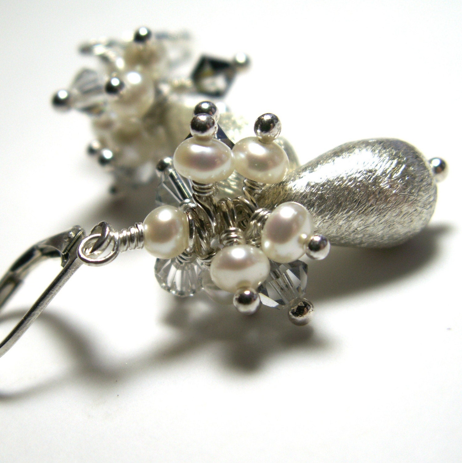 handcrafted jewelry earrings sterling silver brushed white pearls swarovski crystals