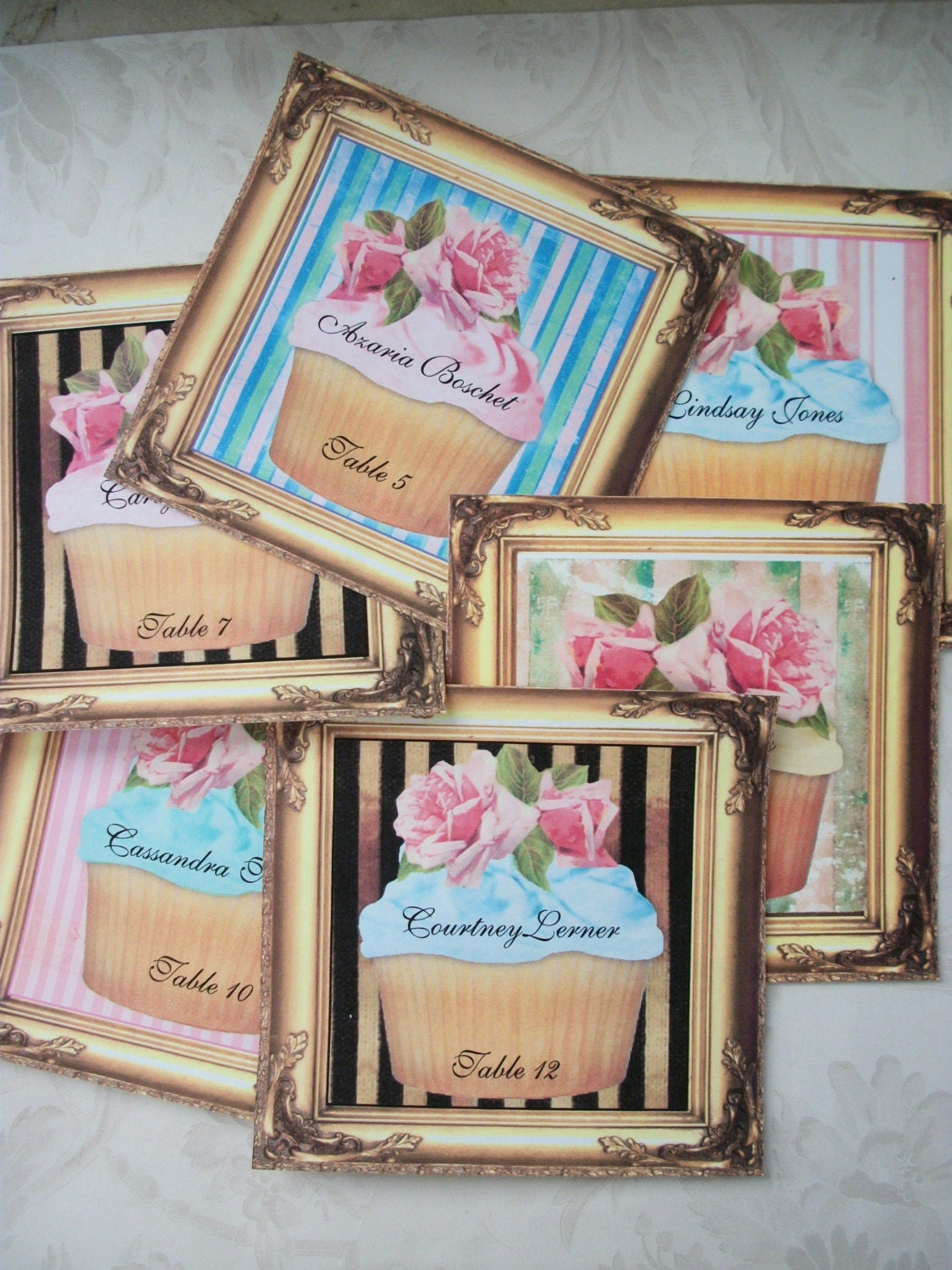 CUPCAKES - NAME CARDS - PLACECARDS - SEATING CARDS - PERSONALIZED - PERFECT FOR A BABY SHOWER, TEA PARTY, NOTECARDS ETC - COMES WITH AN ORGANZA GIFT BAG C28