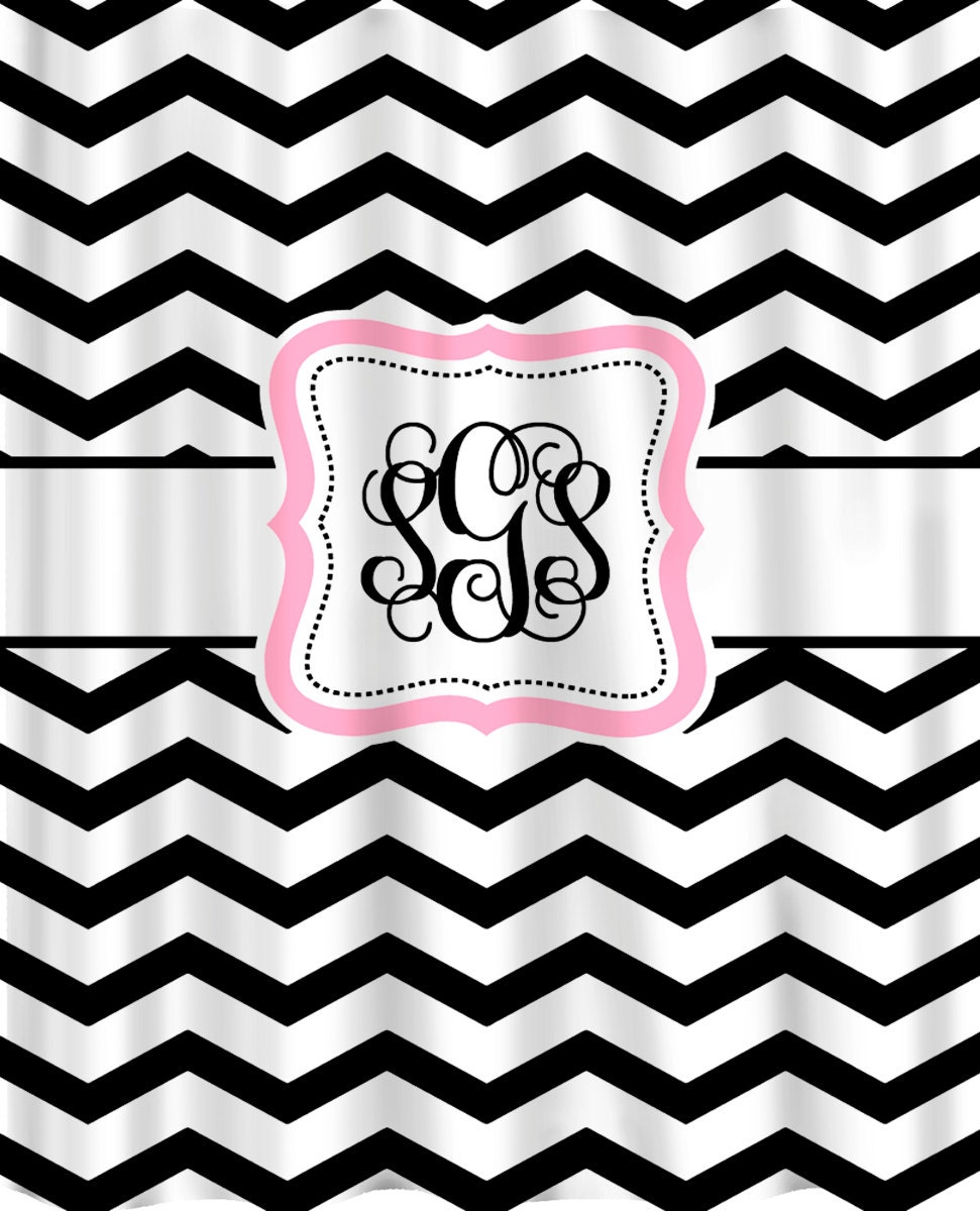 personalized shower curtain black white chevron by redbeauty