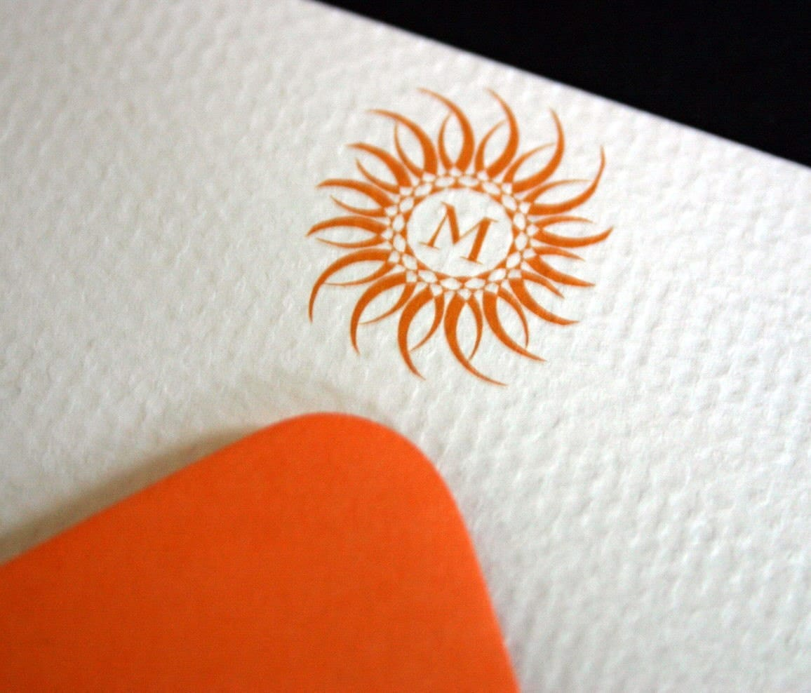 Beautiful Orange Blazing Monogrammed Sun Flat Notecards- Set of 6 with envelopes