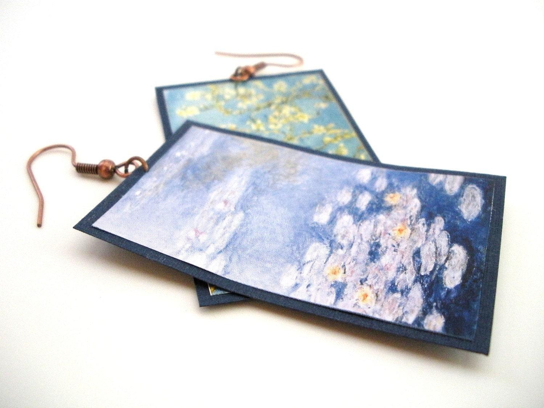 Famous Painter Paper Earrings - Navy Blue and Copper, Van Gogh, Monet