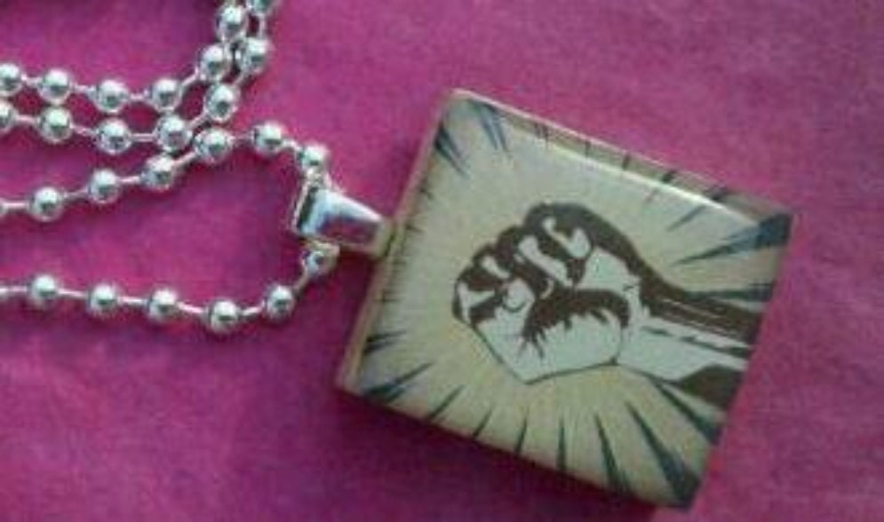 Fist Pump Scrabble Tile Necklace