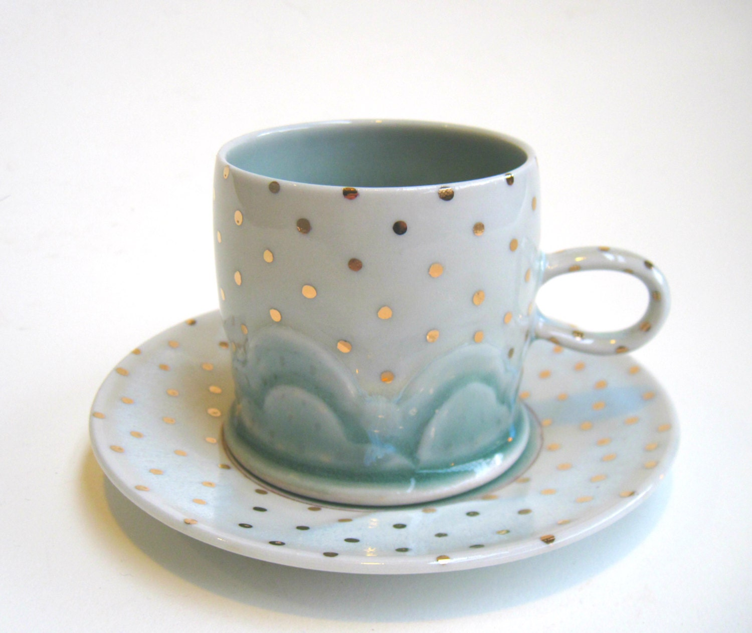 MADE TO ORDER Drippy Gold Polka Dot Cloud Cup and Saucer Set - SilverLiningCeramics