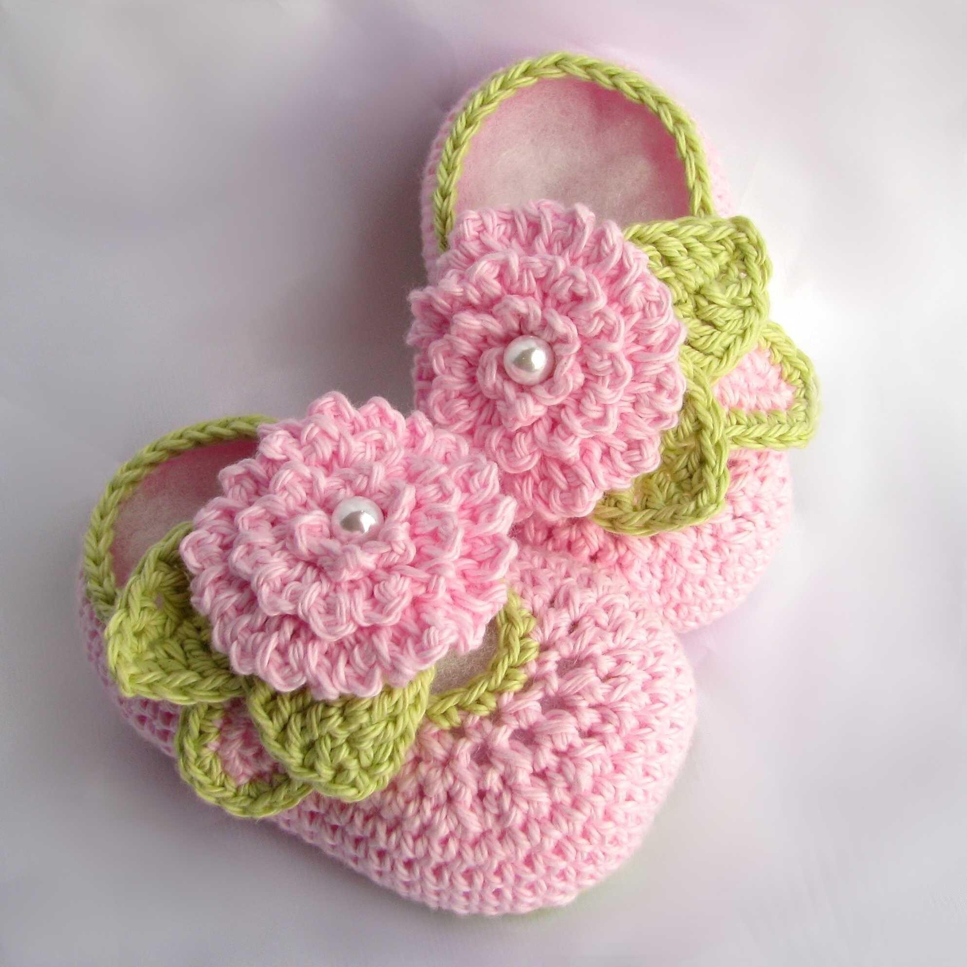 Crochet Baby Booties leaves flowers pearls pdf