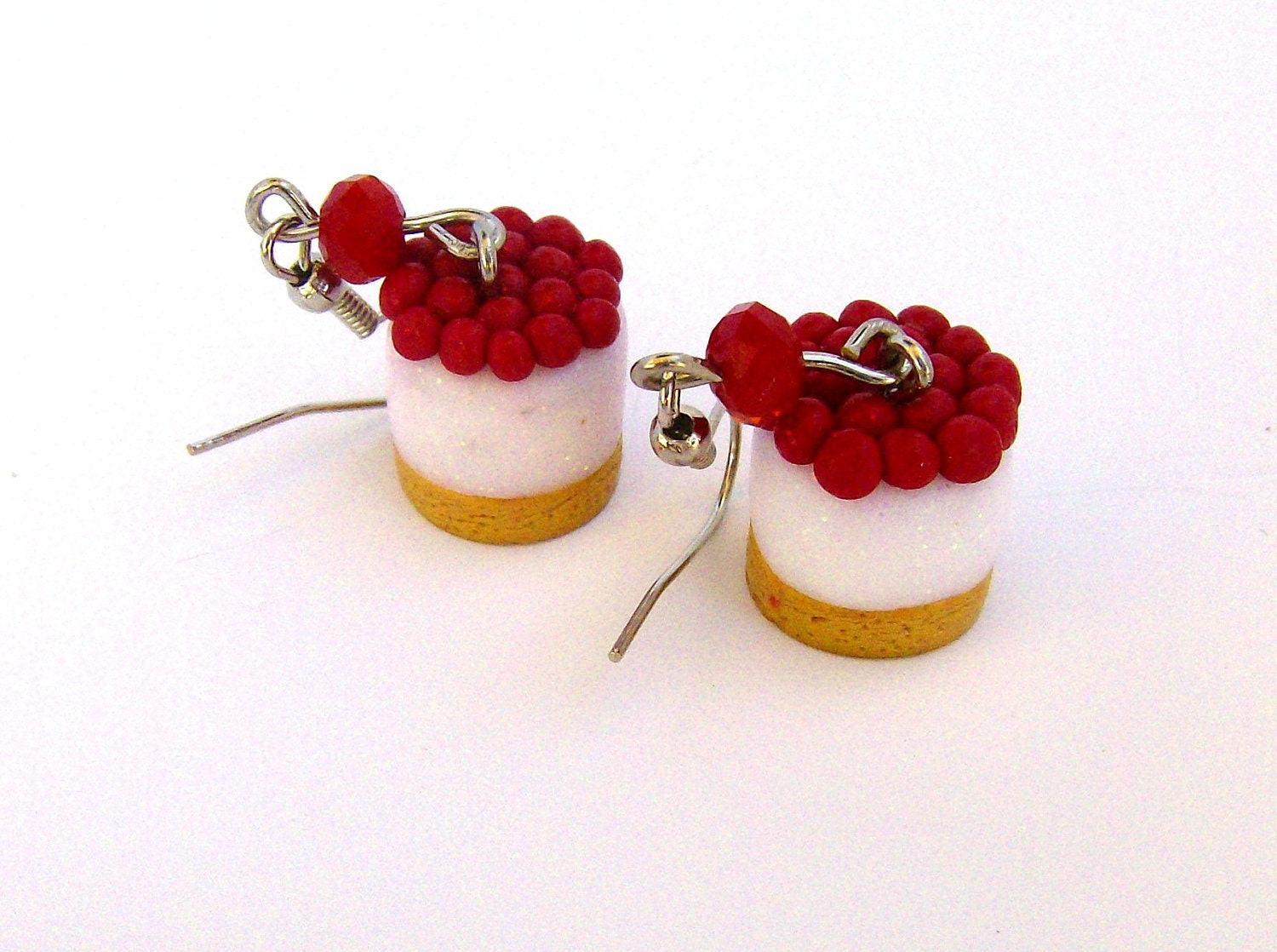 Cheesecake with Cherries polymer clay dangle earrings - AngelasSweetGarden