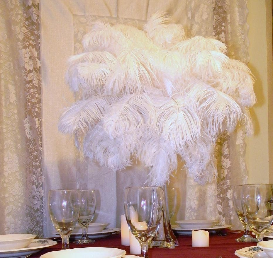 Diy kit of white ostrich feather tower by