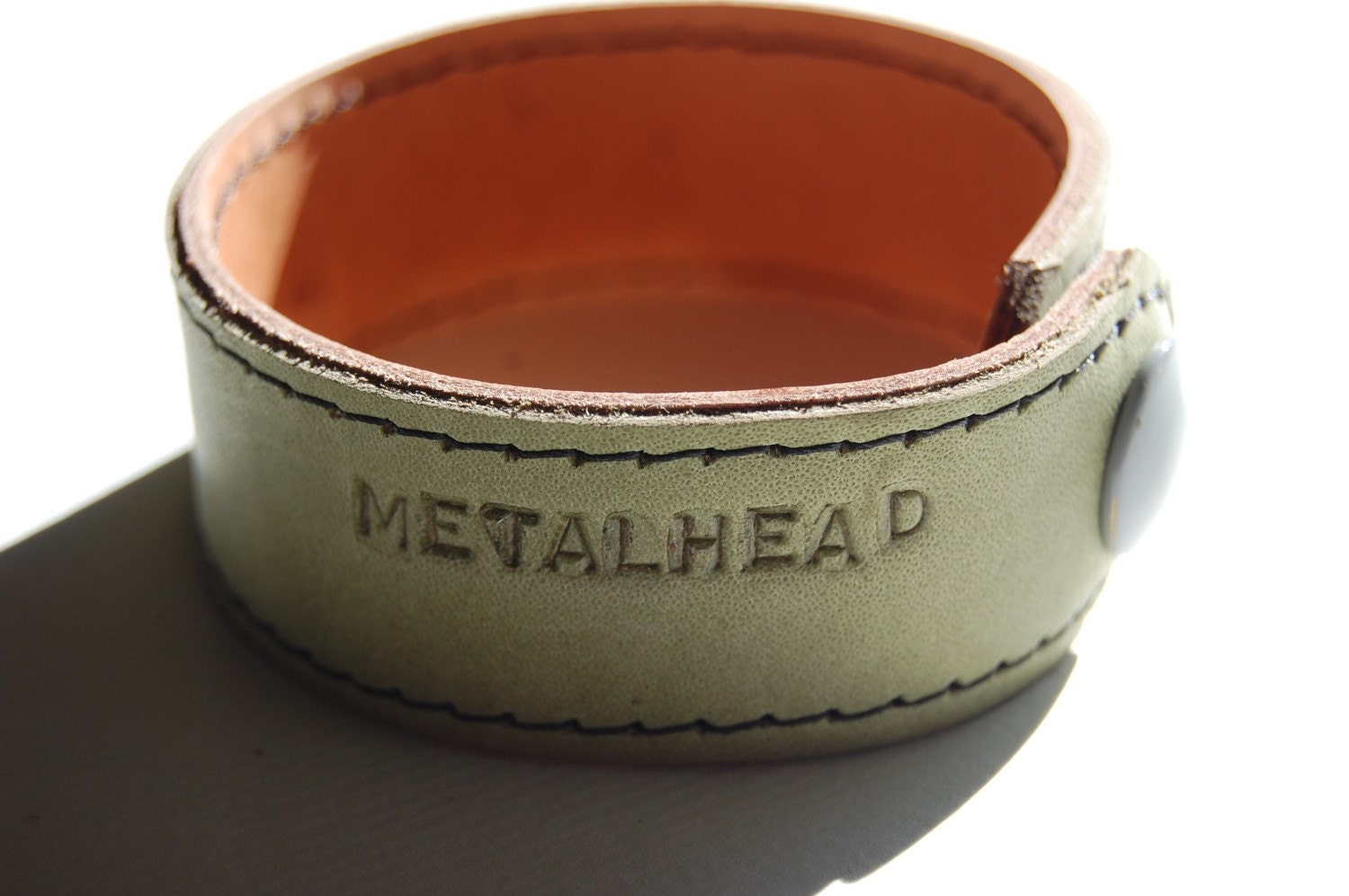 Leather Cuff Bracelet personalized message METALHEAD Ready to ship