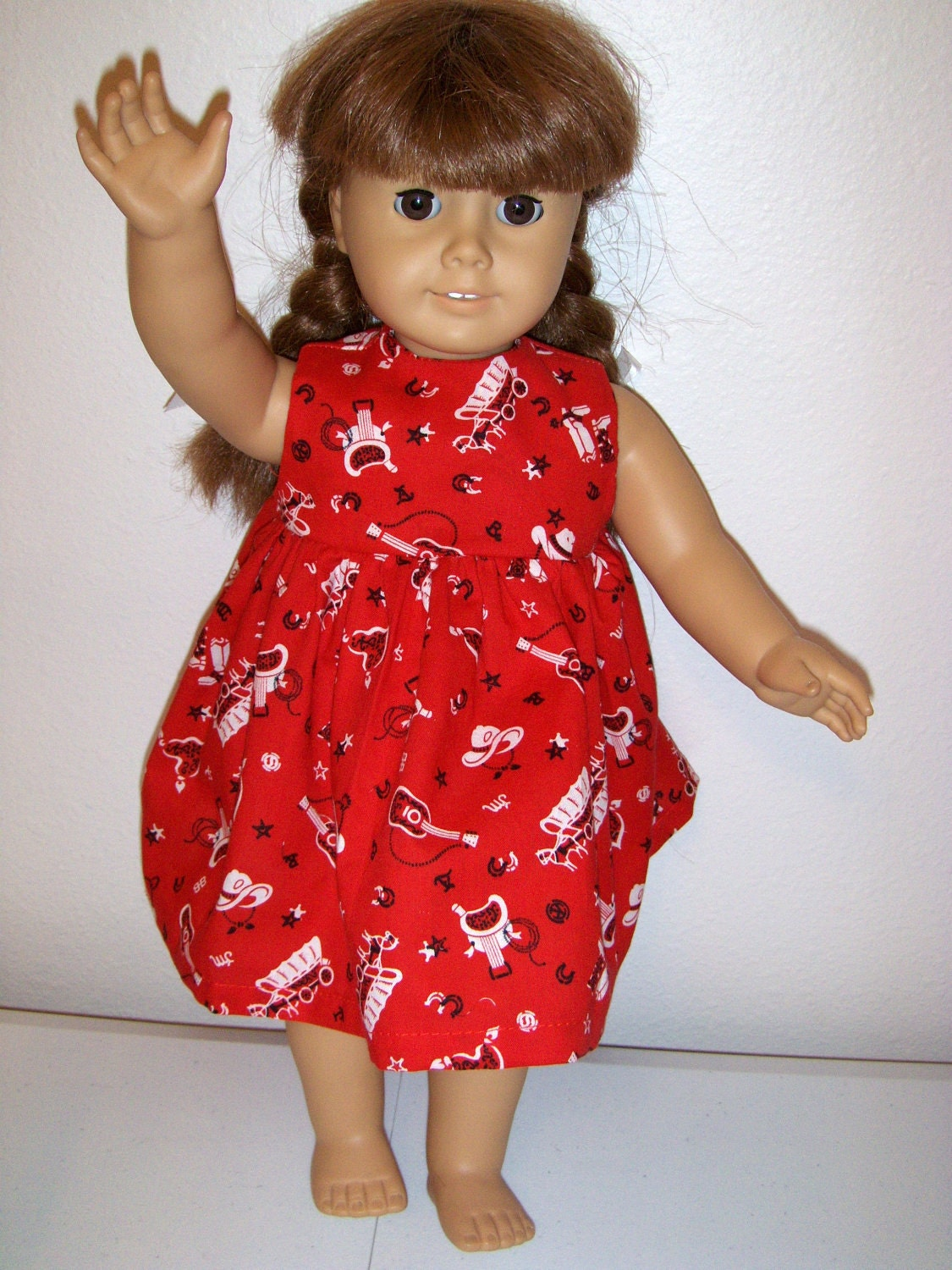 18 inch doll, american girl, cute red cowgirl dress. From MissyOodles