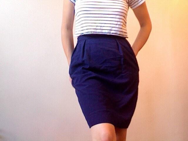 Blue Secretary Pencil Skirt