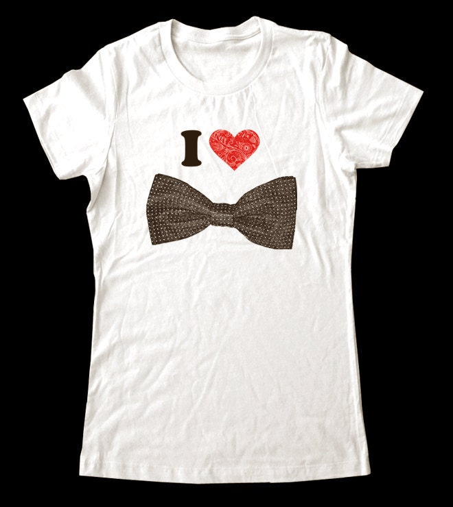 I Love Heart Bow Tie Shirt Printed On Super Soft By Lovespace