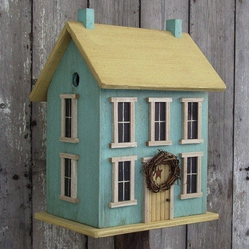 BIRDHOUSE SALTBOX YELLOW and ROBIN EGG BLUE 2 COMPARTMENTS