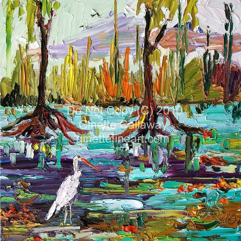 Everglades Florida Wetland Original Oil Painting by Ginette Callaway