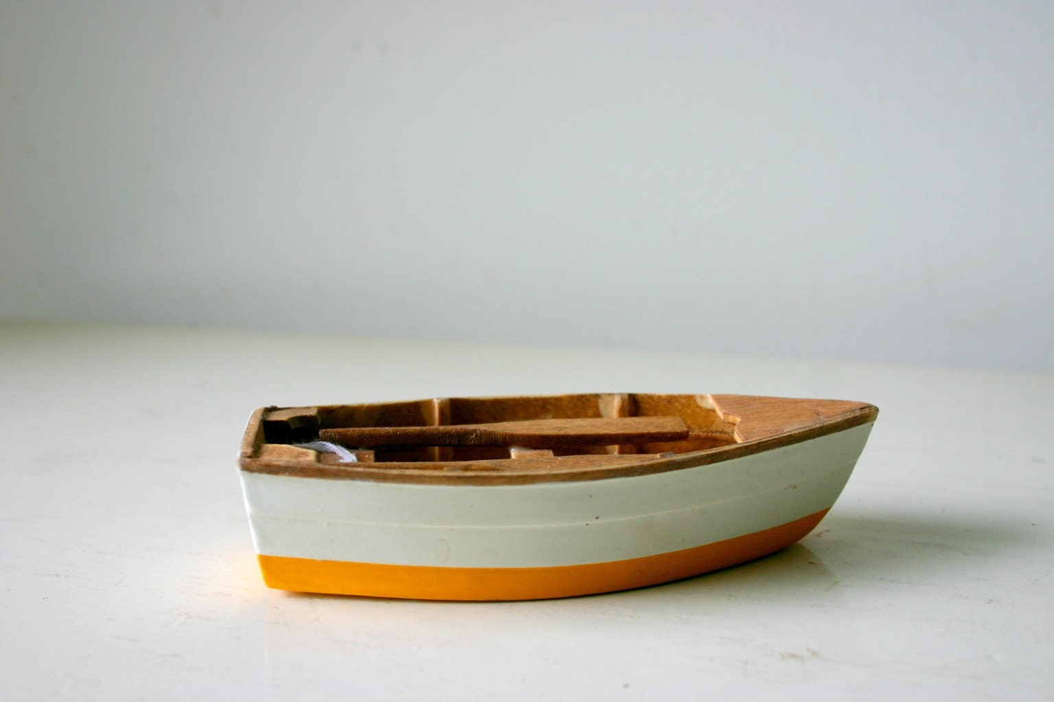 Vintage Yellow Wooden Row Boat