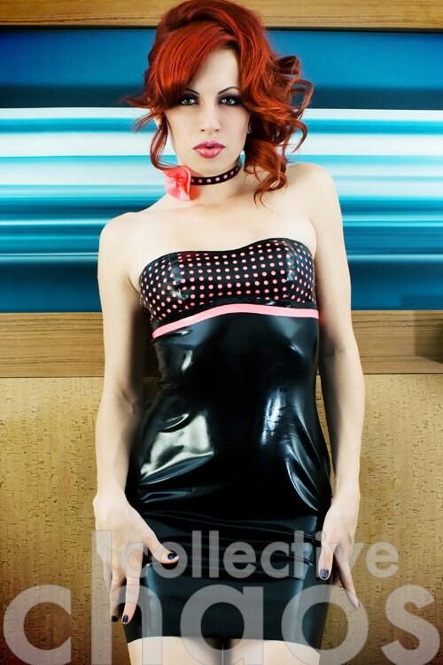 Latex Polka Dot Strapless Mini Dress