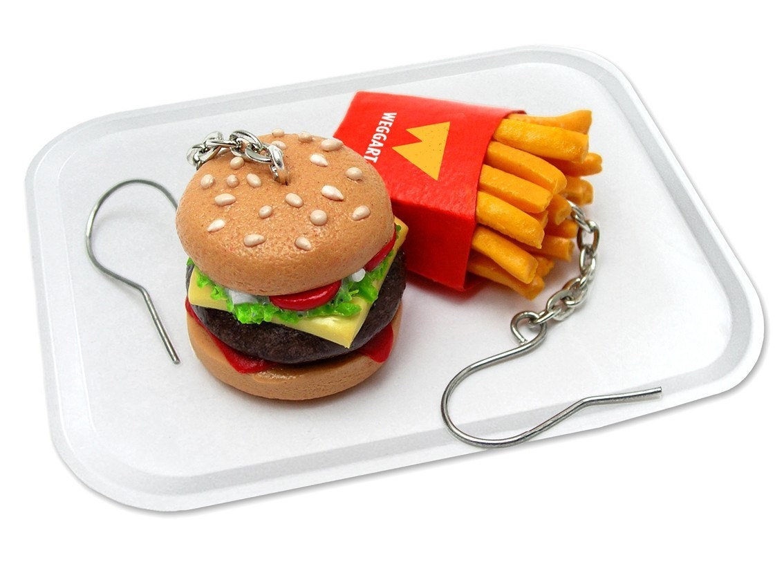 Fast  Food Earrings - Mini fries and burger made from polymer clay
