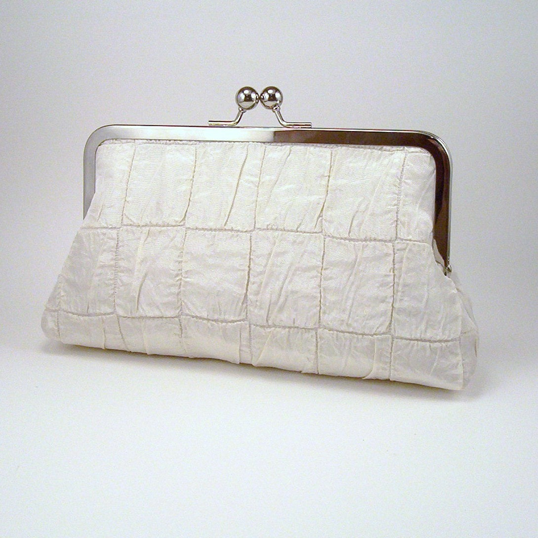 Ivory Ruched Silk Bridal Clutch - lined in 'something blue'