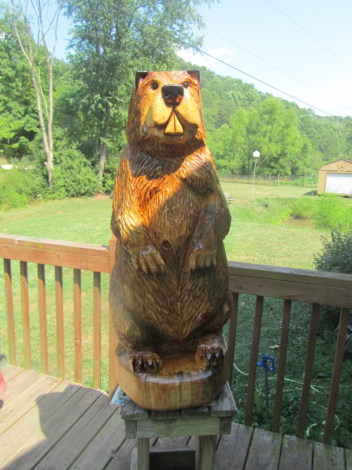 Chainsaw carving carved beaver by