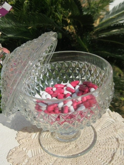 Indiana Glass Footed Candy Bowl with Lid - Diamond Point Pattern