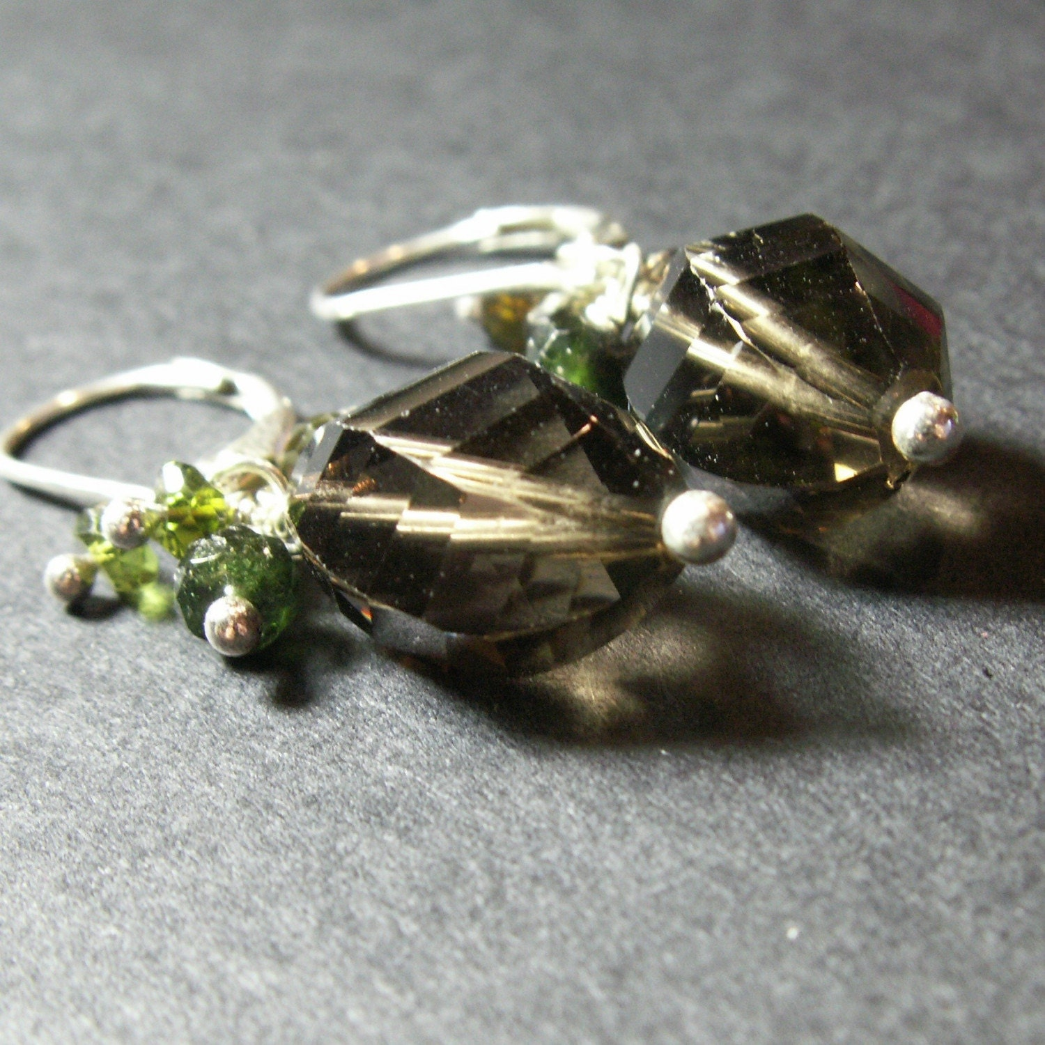 earrings smoky quartz sterling silver oxidized faceted
