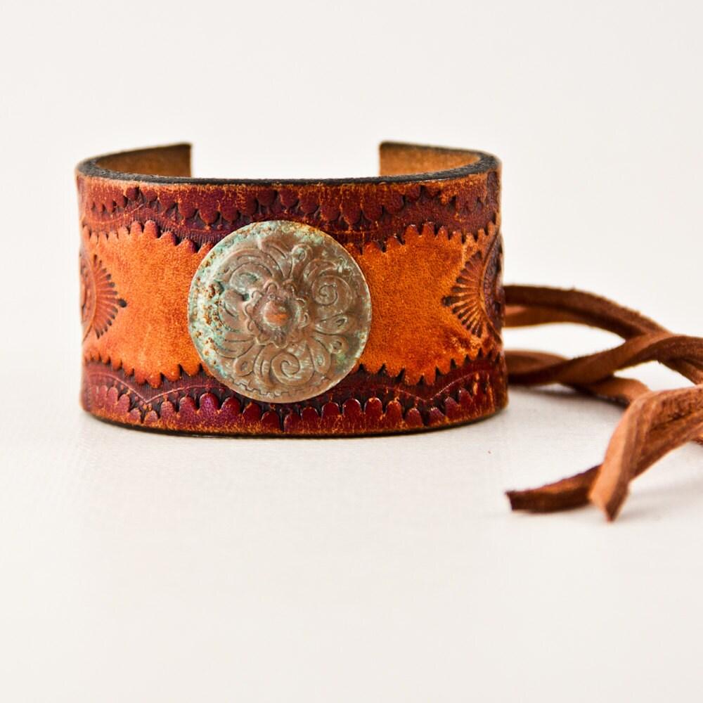 Tooled Leather Jewelry Cuff Bracelet Western By Rainwheel