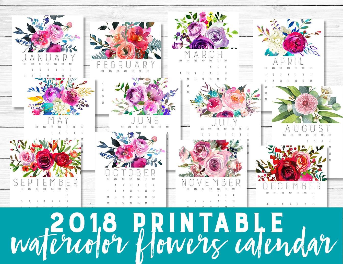 Printable calendar 2018 | Etsy
