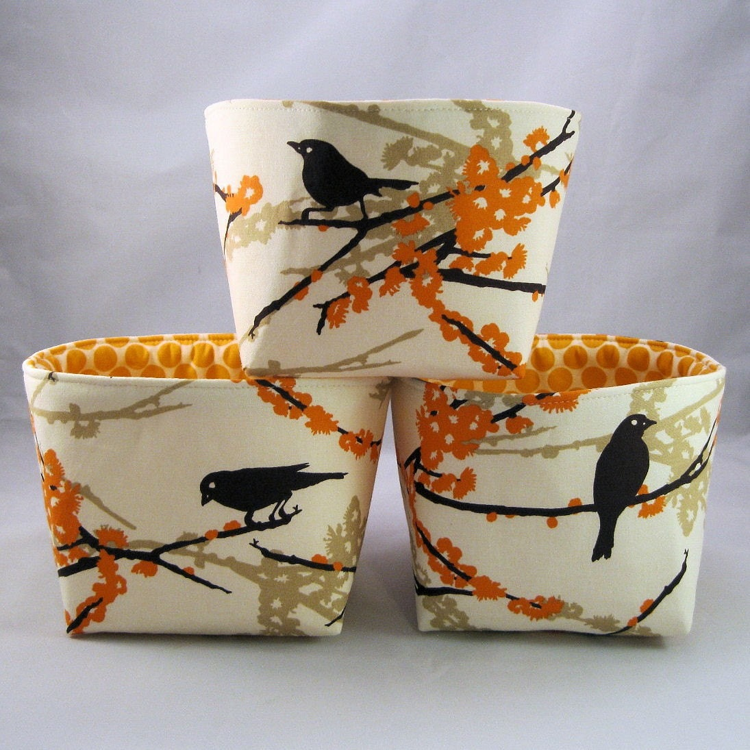 Set of 3 - Mini Fabric Organizer Bins - Almond Sparrows - Aviary