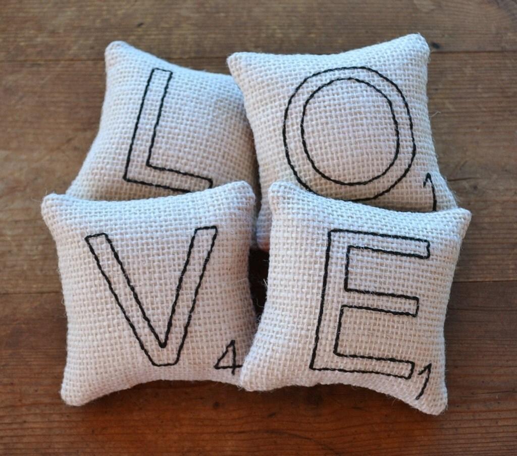 Items similar to Scrabble Letter LOVE Decorative Pillows - Bowl Fillers - Tucks - White Burlap ...